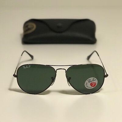 d80f5d1d95 New Ray-Ban Aviator Classic Gunmetal RB3025 004 58 58-14 POLARIZED Green