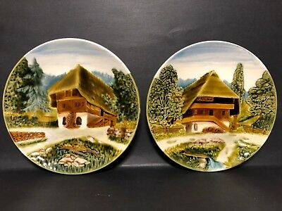 Old Pair Of Antique 1940S Signed Cico Bavaria Germany Raised Relief Dishes Plate