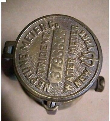 Vintage Neptune Trident Brass Water Meter Company NICE