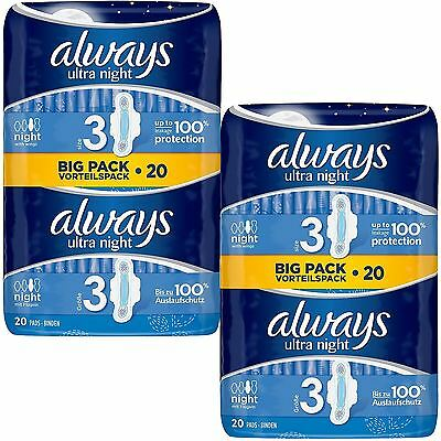 Always Ultra Nuit Serviettes Hygiéniques Tampons Taille 3 Ailes Femme Absorbant