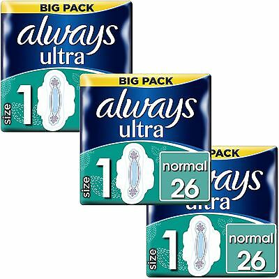 Always Ultra Normal Serviettes Hygiéniques Tampons Taille 1 Ailes Women