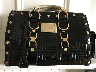 c1a55fc38e28 Versace Black Patent Quilted Couture Bag W gold Top Handle -  mint