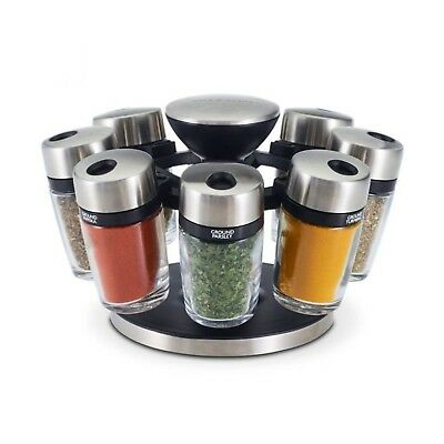 NEW COLE & MASON 8 JAR HERB & SPICE CAROUSEL Rack Storage Jars Containers