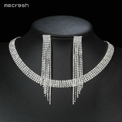 Mecresh Elegant Tassel Crystal Bride Jewelry Sets Silver Necklace Earrings Set