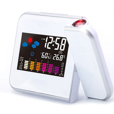 Digital Projection Weather LCD Snooze Wake Alarm Clock Color Display Thermometer