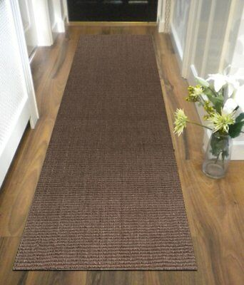 HALLWAY RUNNER HALL RUNNER RUG NATURAL SISAL BOUCLE BROWN 300cm x 80cm