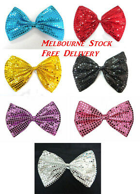NEW ! Large Bow Tie Sequin Polka Dots Bowtie Big King Size Party Unisex Costume