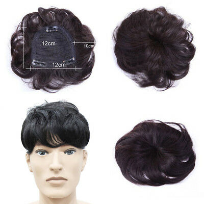 Natural Men 100% Human Hair Extension Clip In Top Topper Curly Hair Piece Toupee