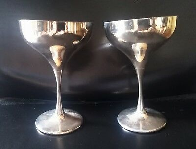 2 Coppe Gelato Champagne Argento 800 Solid Silver Pair Ice Cream Cups Champagne