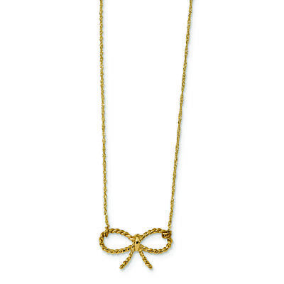Ladies Modern 14K Yellow Gold Rope Bow Charm Pendant Chain Necklace - 16.5 inch