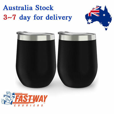 2 Pcs 350ml Stainless Steel Stemless Wine Glass Tumbler Double Wall Vacuum CupsA