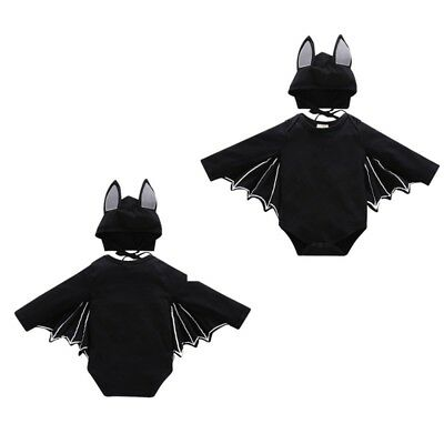 2Pcs Baby Girls Boys Infant Halloween Fancy Black Bat Costume Cloak Romper w/Hat