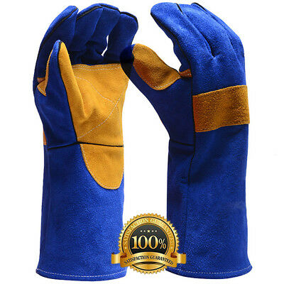Leather Premium Welders Gloves Welding Gauntlets  - Reinforced Lined Gloves