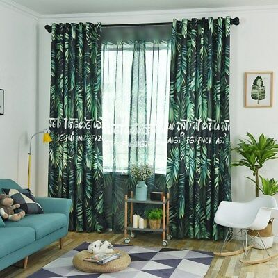 Dark Green Cloth Curtain Blackouts Sheer Tulle Drape Tropical Printed Room Shade