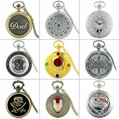 Antique Steampunk Design Quartz Pocket Watch Retro Necklace Pendant Vintage Gift