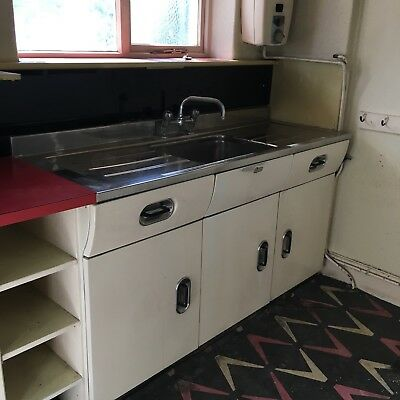 1950 S Vintage English Rose Kitchen Metal Cabinets In Off White