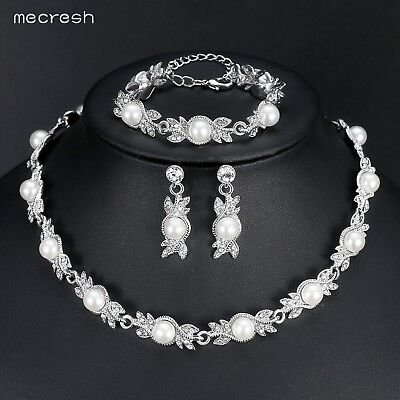 Mecresh Simulated Pearl Bridal Jewelry Sets Silver Wedding Necklace Bracelet Set