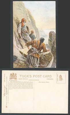 China Life in Old Tuck's Oilette Postcard Chinese Pirates Rocks Cliffs Gun Sword