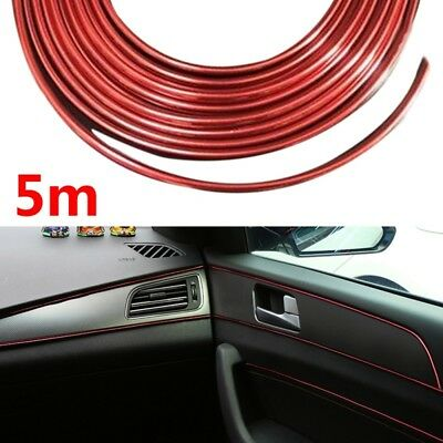 5M Auto Car SUV Accessories Universal Interior Decorative Red Strip Chrome DIY