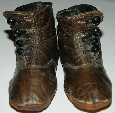 1890's Victorian Baby Shoes Leather Vici Kid Robert H Foerderer Philadelphia PA