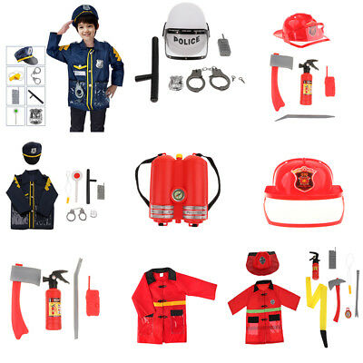 Kids Role Play Fire Chief Fire Fighter Police Man Dress Up Toy Halloween Props