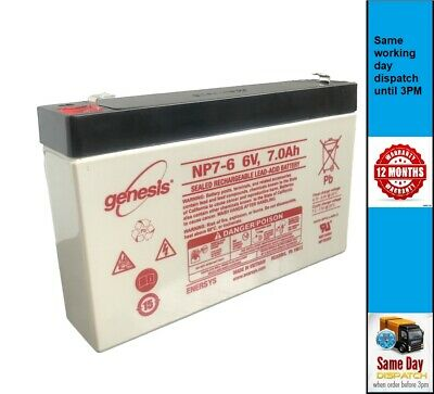 GENESIS NP6-7,  6V 7AH replacement DJW6-7 DJW6-7.2 sealed lead acid Battery