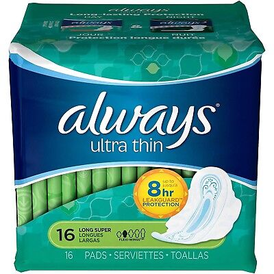 Always Ultra Thin Size 2 Long Super Pads with Wings, Unscented, 14 Count (Pack o