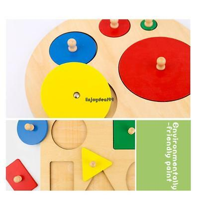 KIDS WOODEN GEOMETRIC Shape Puzzles Sorting Early Educational Toys OO55