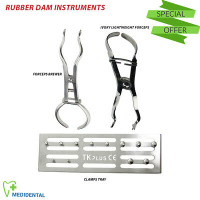 Rubber dam Endodontics Clamps Tray Brewer Forceps Ivory Punch Plier Dental Tools