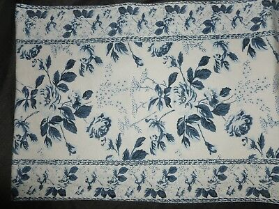 Table Runner Indigo Blue White Floral Rose 100 Cotton Nice Heavy
