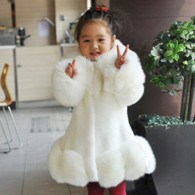 Baby Kids Girls Faux Fur Furry Warm Jacket Parka Trench Coat Winter Outwear