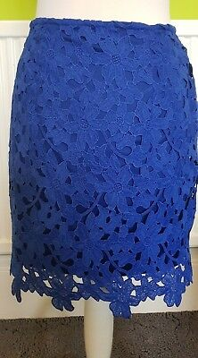 St Bernard For Dunnes Stores Gorgeous Blue Lacy flowers Short skirt Size 8 Lined