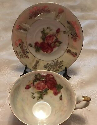 Beautiful Iridescent Yellow Royal Halsey Cup And Saucer L & M Very Fine