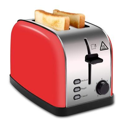 2 Slice Wide Slot Toaster Red, Brushed Stainless Steel Toaster with Removable