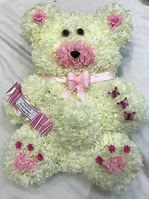Teddy Bear Artificial Silk Funeral Flowers Childrens Wreath Tribute Memorial