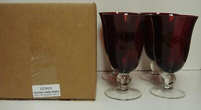 Lenox HOLIDAY GEMS (RUBY) Wine (All Purpose) Tall  MINT IN BOX Set of FOUR MINT