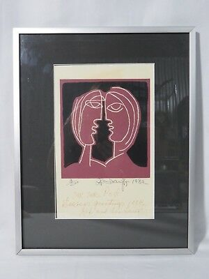 Vintage Couple Lithograph or block print Mystery artist signed 1988