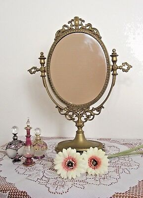 French Antique Bronze Detailed Ornate Swivel Dressing Table Mirror Circa 1930s