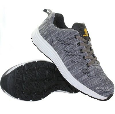 New Mens Grey Ultra Lightweight Steel Toe Cap Safety Work Trainers Shoes Uk Size