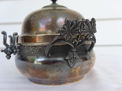 Antique Victorian Era Warner Silver Company Etched 3 Part Covered Butter Dish