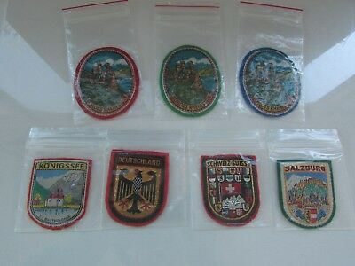 Vintage Lot of 7 Travel Souvenir Patch Europe Mostly Germany