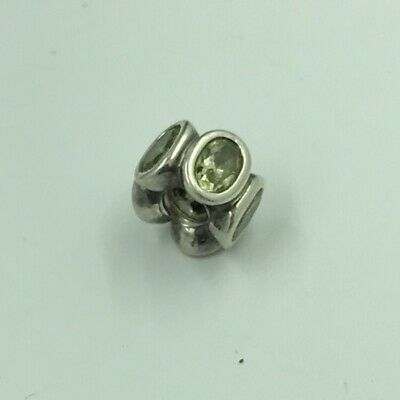 RETIRED Authentic PANDORA 925 ALE Silver Light Green Oval Lights Spacer Charm