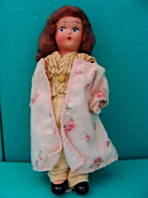 """Vintage Madame Alexander composition 1930's Doll in P.J's, Robe, 7"""" Little Betty"""