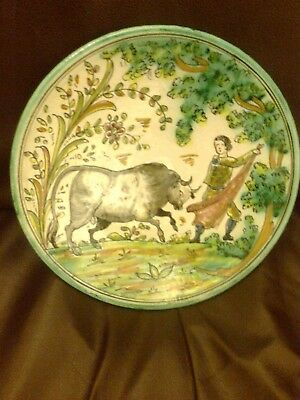 Santafe Puente Arzobispo Spain Hand Painted Hand Made Wall Plate Matador & Bull