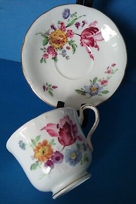 Vintage 1940's Aynsley Fine Bone China Floral Bouquet Gold Gild Teacup & Saucer