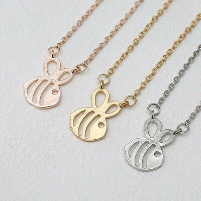 Gold Plated Paper Cut-Out Honey Bumble Bee  Silver Necklace Pendant Cute Girl