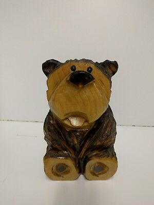 "Carved wooden 9 1/2"" x 6"" decorative brown bear"