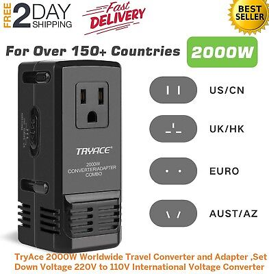 2000W Worldwide Travel Converter and Adapter Step Down 220V to 110V-FREE SHIP US