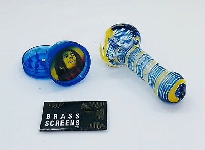 """""""tobacco"""" 3"""" Glass Color Design SWIRL PIPE w/SCREENS + **FREE GRINDER**  Lot"""