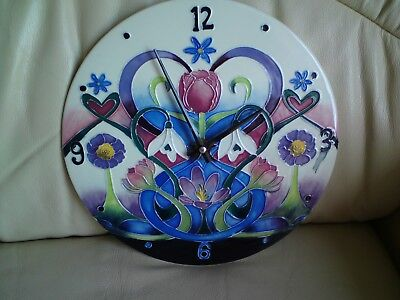 Old Tupton Ware Floral Wall Clock,25.5 Cms Approx,Used,Free-Mailing.